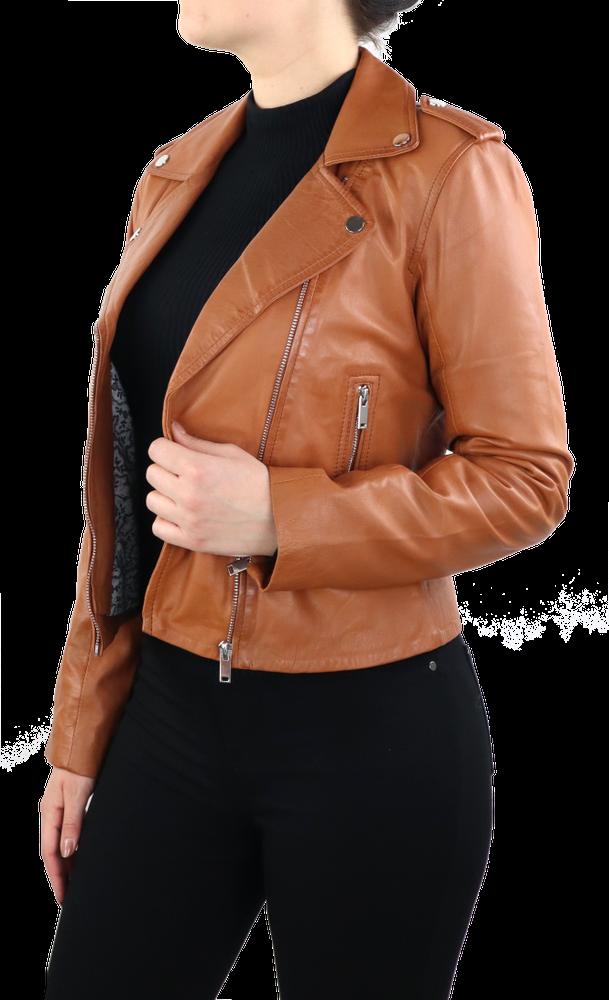 Damen-Lederjacke 7620, Cognac Braun in 2 Farben, Bild 4