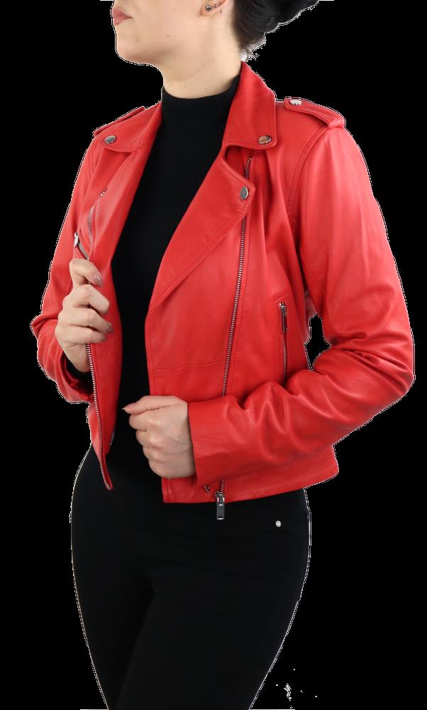 Damen-Lederjacke 7620, Rot in 2 Farben, Bild 4