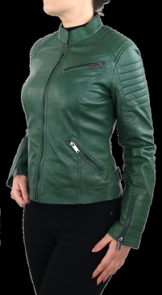 Damen-Lederjacke 7621, Grün in 2 Farben, Bild 4