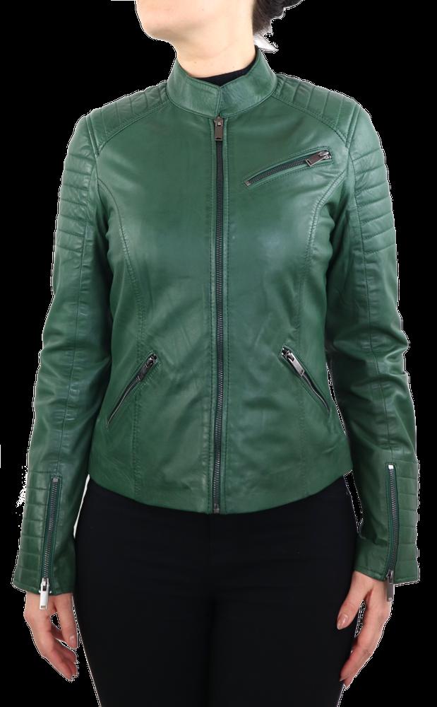 Damen-Lederjacke 7621, Grün in 2 Farben, Bild 2