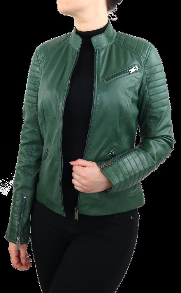 Damen-Lederjacke 7621, Grün in 2 Farben, Bild 3