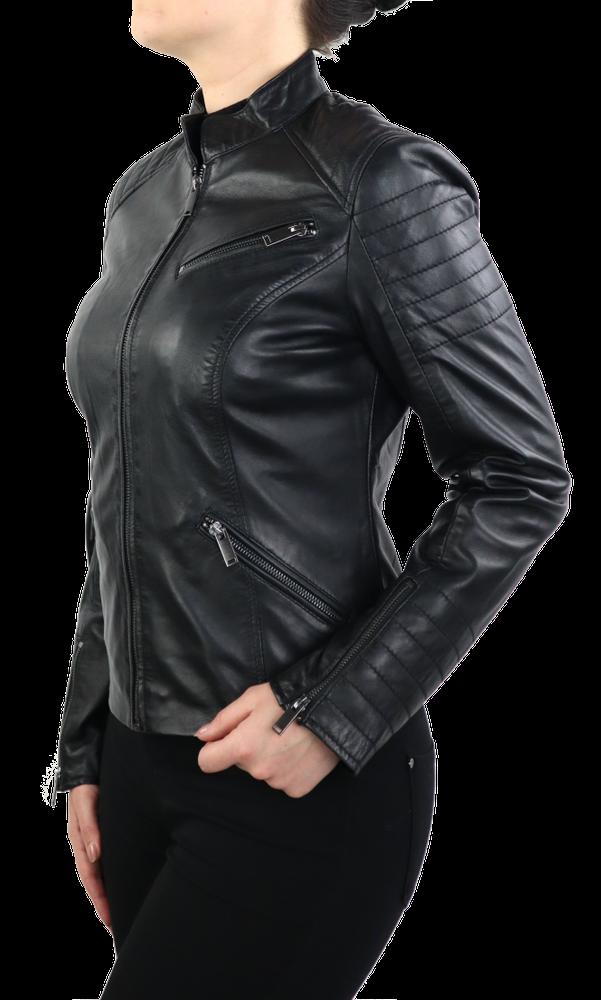 Damen-Lederjacke 7621, Schwarz in 2 Farben, Bild 4