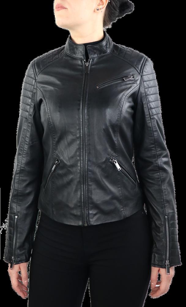 Damen-Lederjacke 7621, Schwarz in 2 Farben, Bild 2