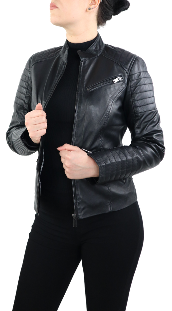 Damen-Lederjacke 7621, Schwarz in 2 Farben, Bild 3