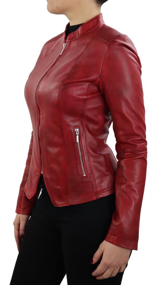 Damen-Lederjacke Abigale, Rot in 9 Farben, Bild 4