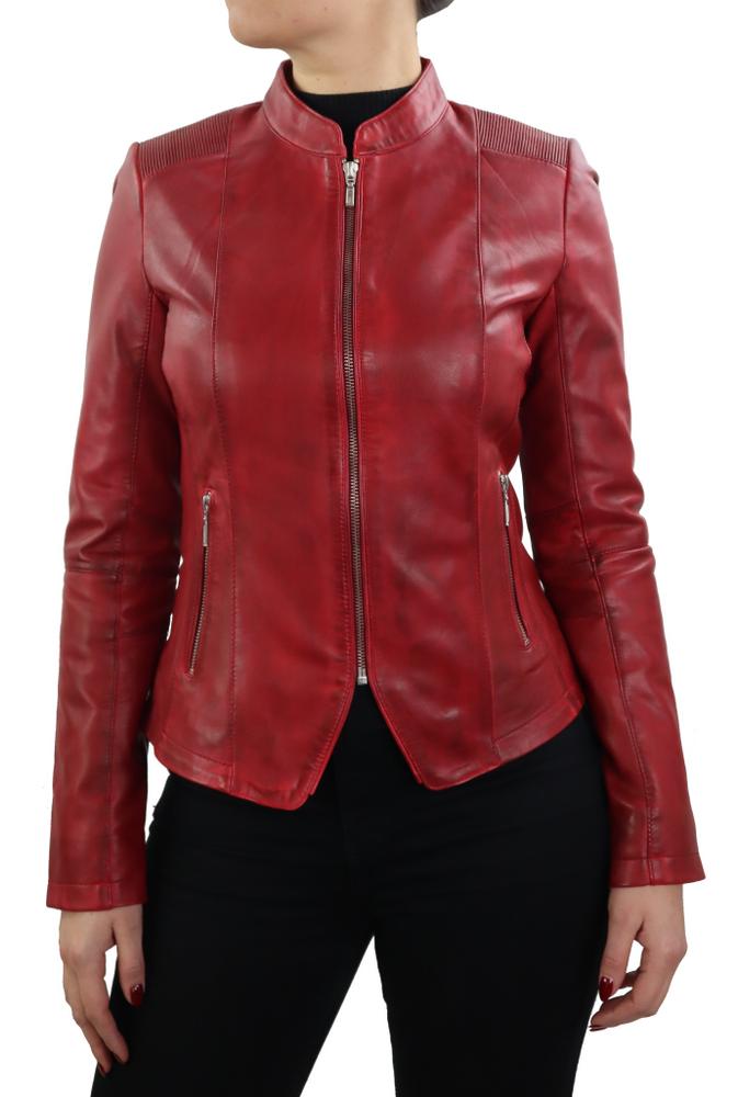 Damen-Lederjacke Abigale, Rot in 9 Farben, Bild 2