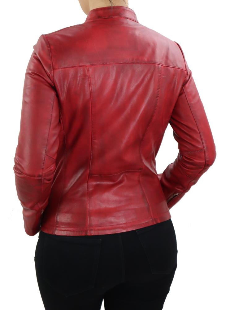 Damen-Lederjacke Abigale, Rot in 9 Farben, Bild 5