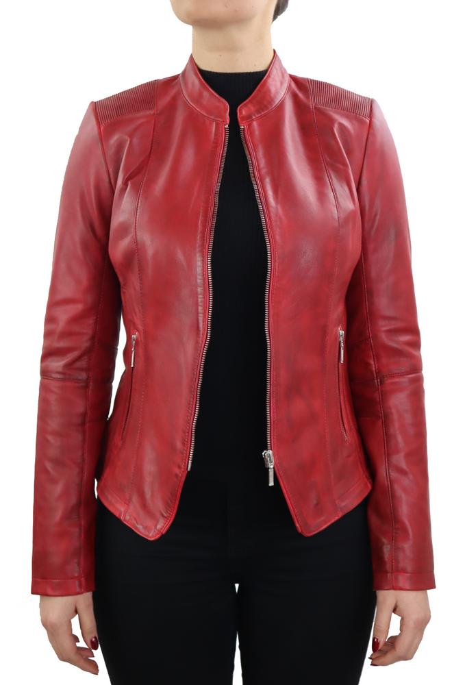 Damen-Lederjacke Abigale, Rot in 9 Farben, Bild 3