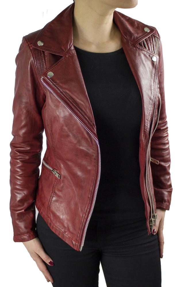 Damen-Lederjacke Betty, Rot in 3 Farben, Bild 3