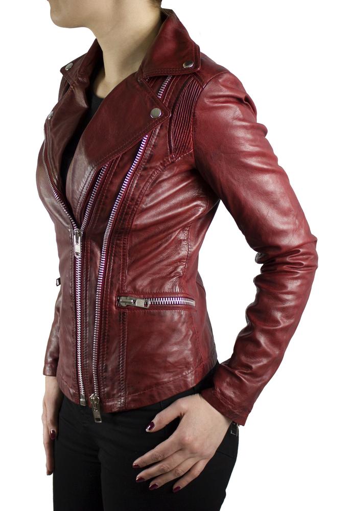 Damen-Lederjacke Betty, Rot in 3 Farben, Bild 4
