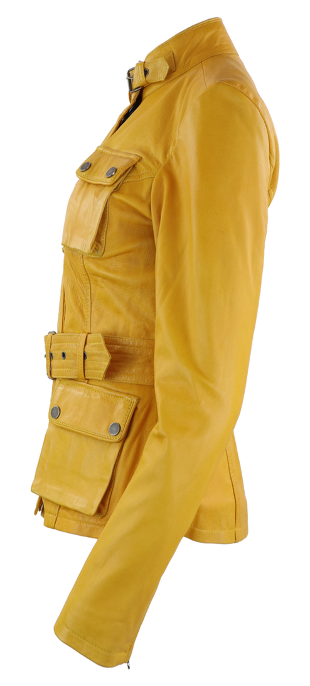 Damen-Lederjacke Caitlyn, Gelb in 5 Farben, Bild 2