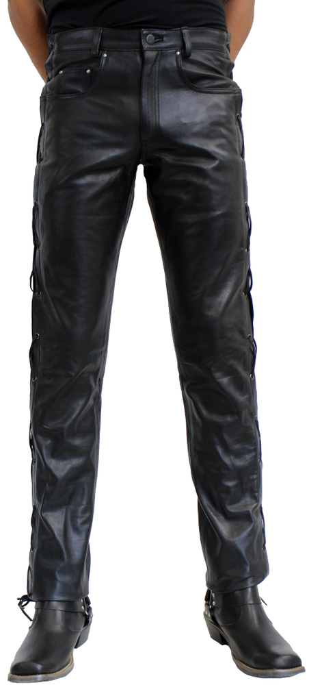 Herren-Lederhose Cow Waxy (geschnürt), Schwarz in 2 Farben, Bild 1