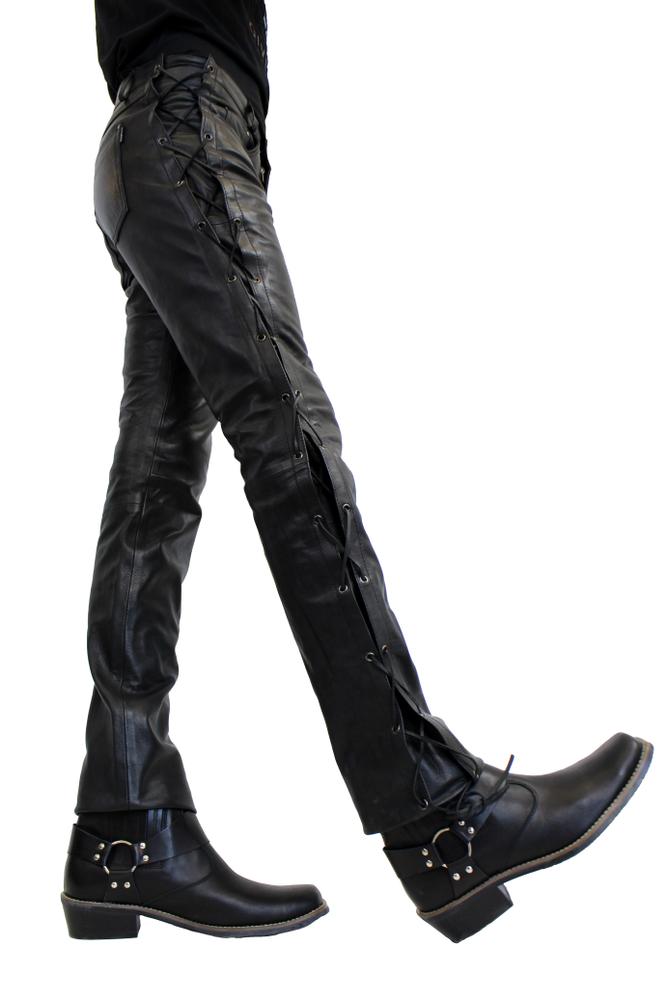 Herren-Lederhose Cow Waxy (geschnürt), Schwarz in 2 Farben, Bild 3
