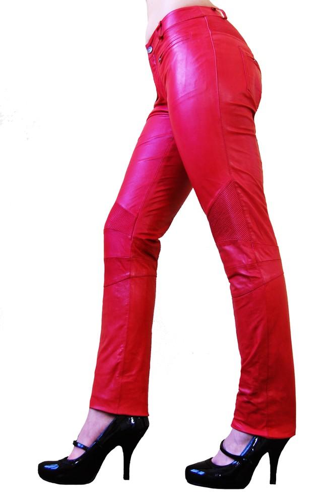 Damen-Lederhose Donna, Rot in 6 Farben, Bild 2