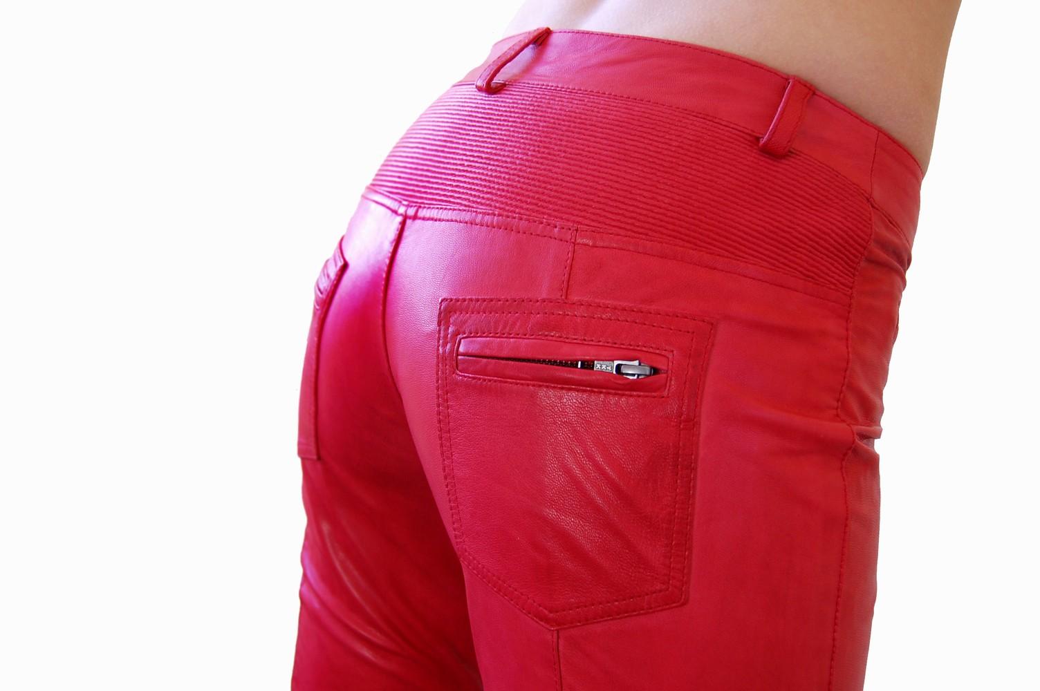 Damen-Lederhose Donna, Rot in 6 Farben, Bild 4