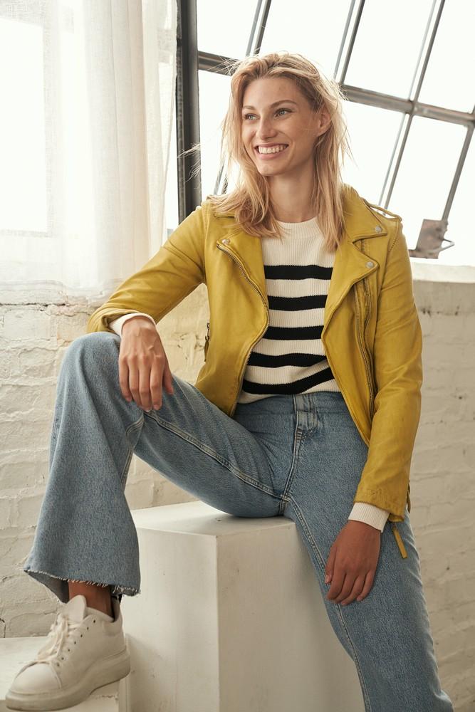 Damen-Lederjacke Foxy, Zart-Gelb in 12 Farben, Bild 2