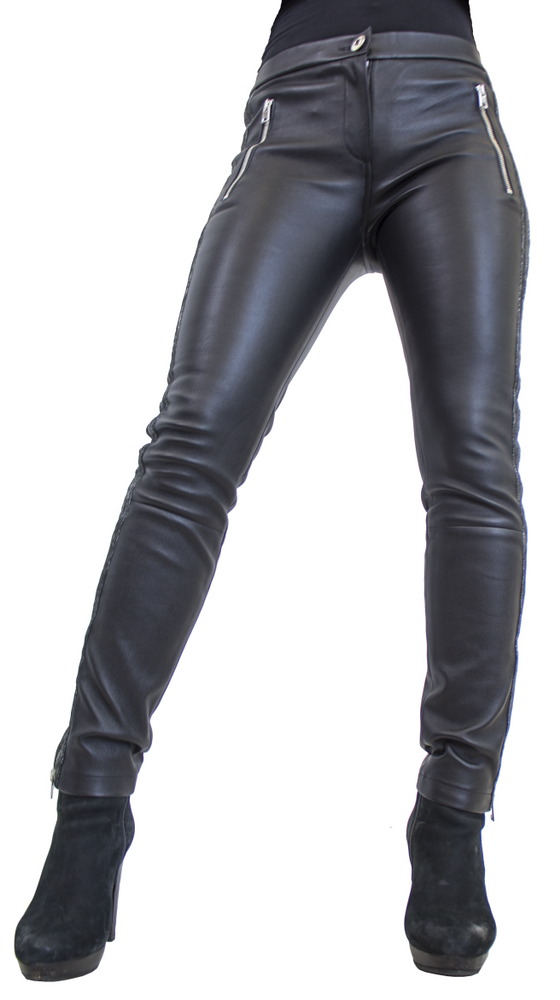 Damen-Lederhose Havana (Stretch), Schwarz in 3 Farben, Bild 3