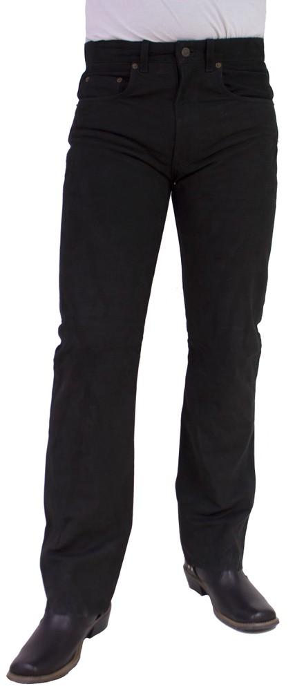 Herren-Lederhose Jeans 01 (Nubuk), Schwarz in 5 Farben, Bild 1