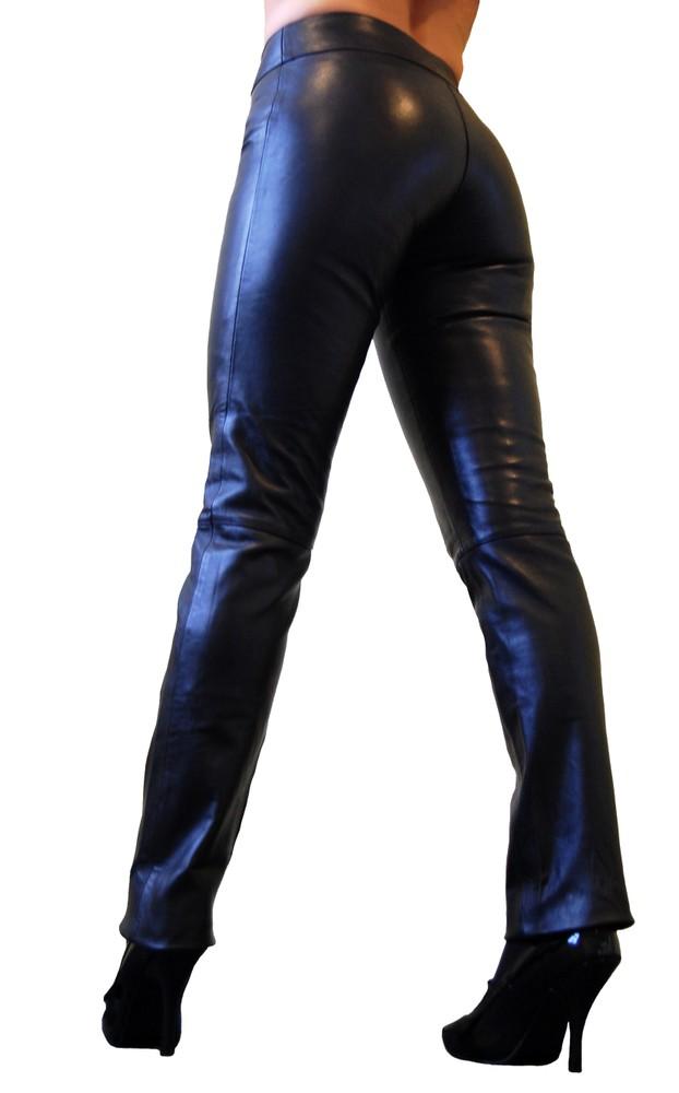 Damen-Lederhose Low Cut, Schwarz in 2 Farben, Bild 5