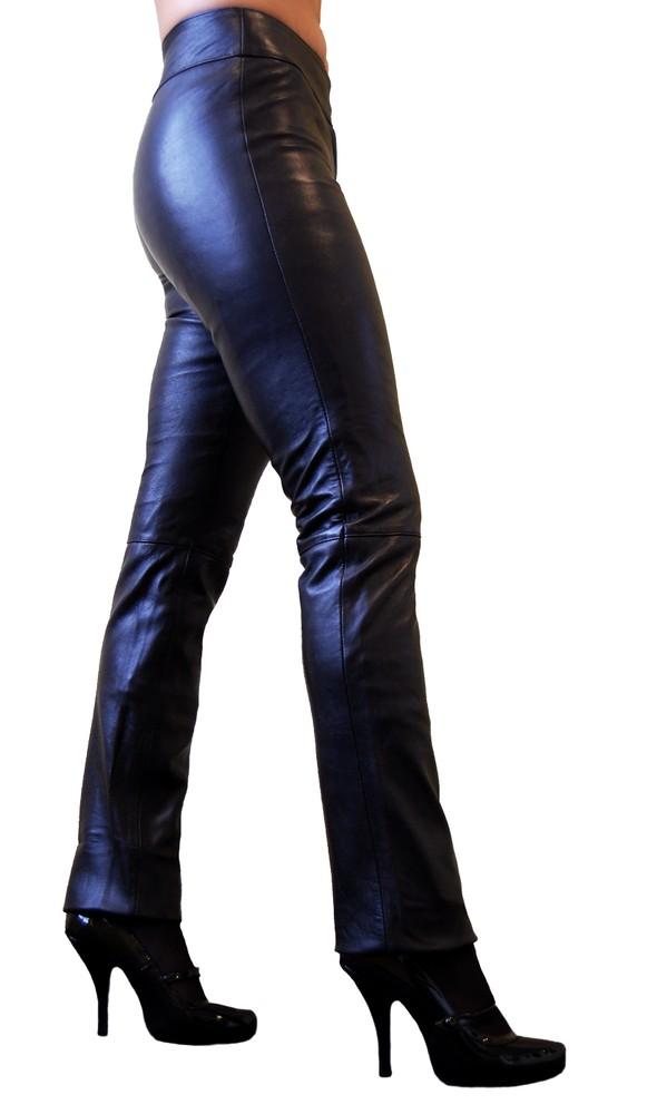 Damen-Lederhose Low Cut, Schwarz in 2 Farben, Bild 4