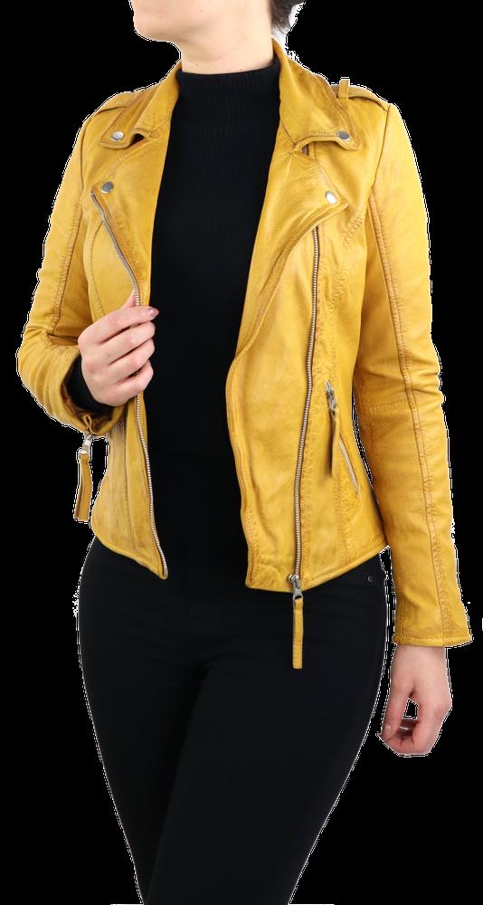 Damen-Lederjacke Relly, Gelb in 1 Farben, Bild 3