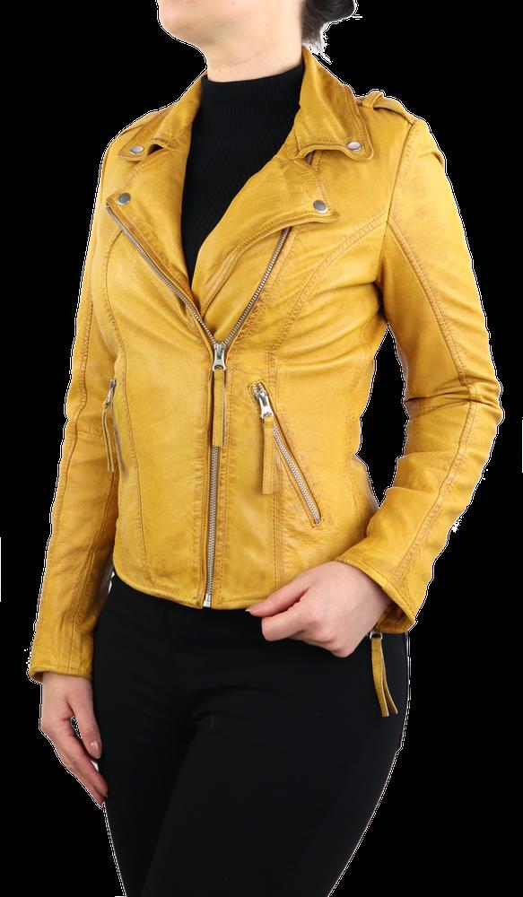 Damen-Lederjacke Relly, Gelb in 1 Farben, Bild 4