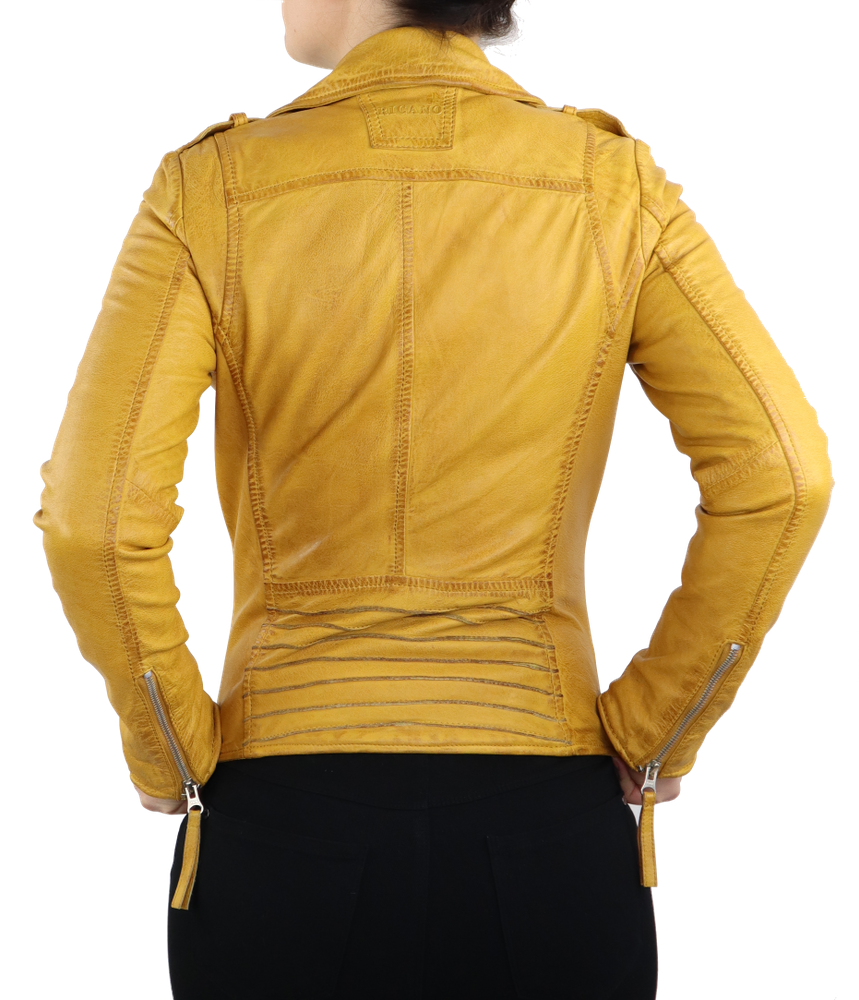 Damen-Lederjacke Relly, Gelb in 1 Farben, Bild 5