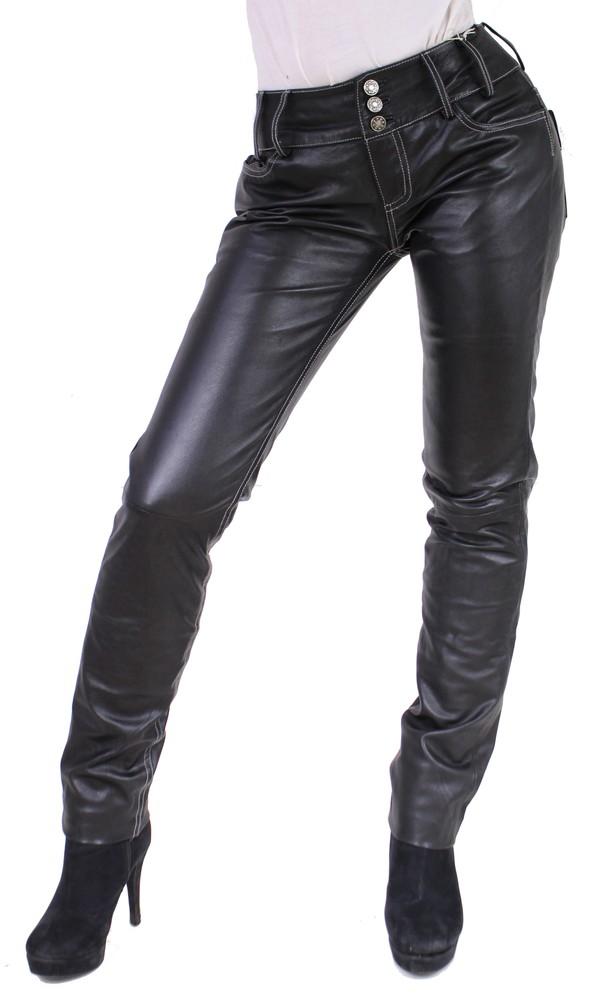 Damen-Lederhose Skinny Pant, Schwarz - Schwarze Nähte in 2 Farben, Bild 1