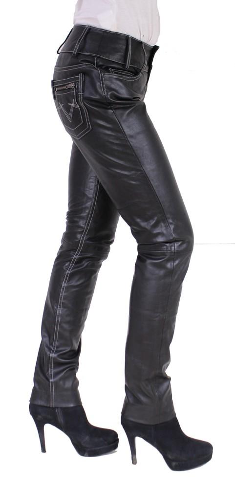 Damen-Lederhose Skinny Pant, Schwarz - Schwarze Nähte in 2 Farben, Bild 2