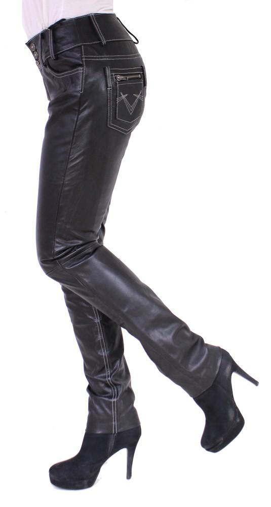 Damen-Lederhose Skinny Pant, Schwarz - Schwarze Nähte in 2 Farben, Bild 3