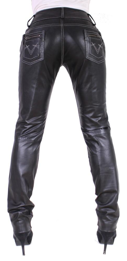 Damen-Lederhose Skinny Pant, Schwarz - Schwarze Nähte in 2 Farben, Bild 5