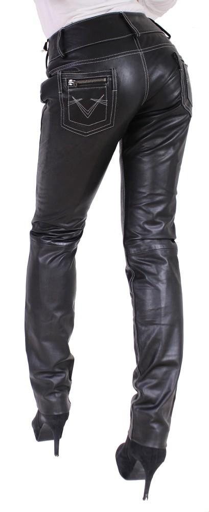 Damen-Lederhose Skinny Pant, Schwarz - Schwarze Nähte in 2 Farben, Bild 4
