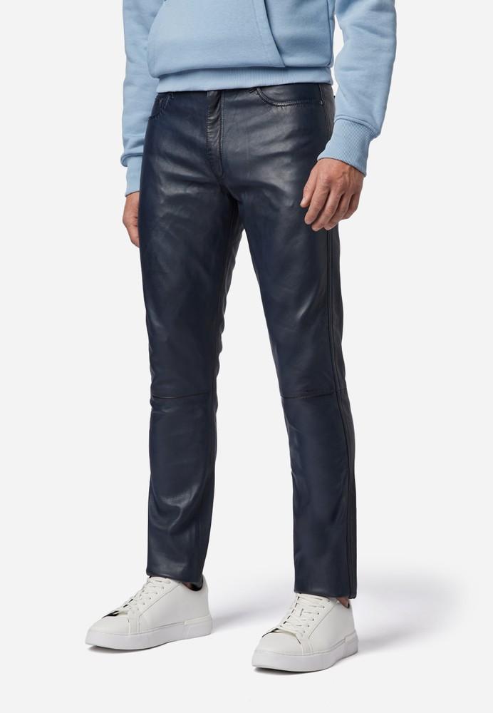 Herren-Lederhose Slim Fit, Blau in 6 Farben, Bild 1