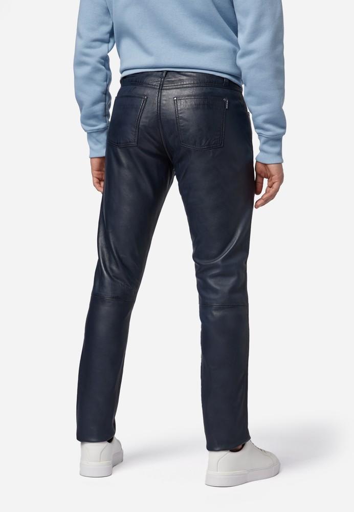 Herren-Lederhose Slim Fit, Blau in 6 Farben, Bild 3