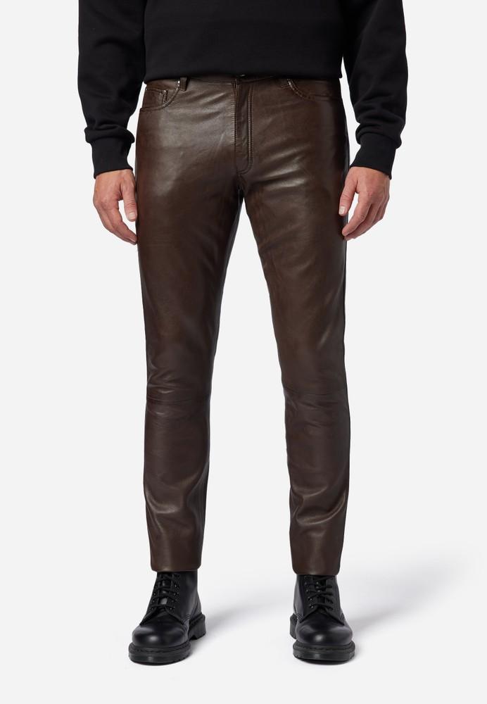 Herren-Lederhose Slim Fit, Braun in 6 Farben, Bild 1
