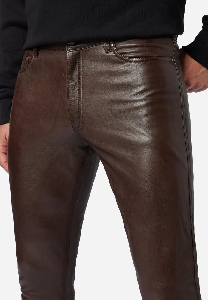Herren-Lederhose Slim Fit, Braun in 6 Farben, Bild 5