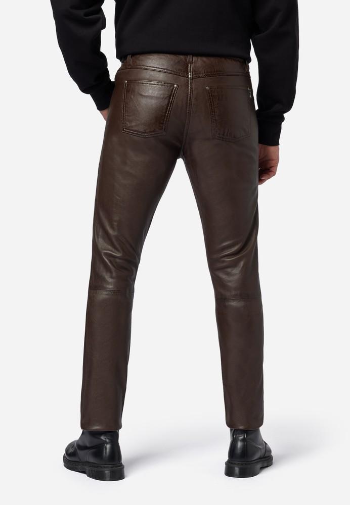 Herren-Lederhose Slim Fit, Braun in 6 Farben, Bild 3
