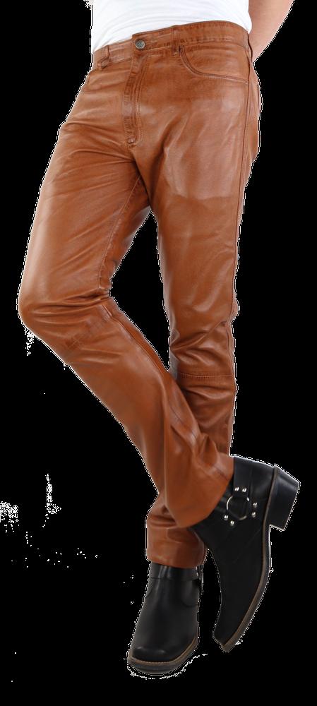Herren-Lederhose Slim Fit, Cognac Braun in 6 Farben, Bild 4