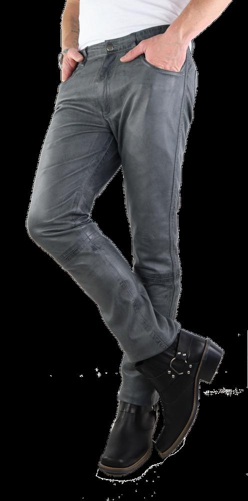 Herren-Lederhose Slim Fit, Grau in 3 Farben, Bild 3