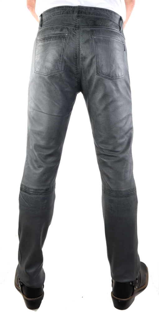 Herren-Lederhose Slim Fit, Grau in 3 Farben, Bild 4