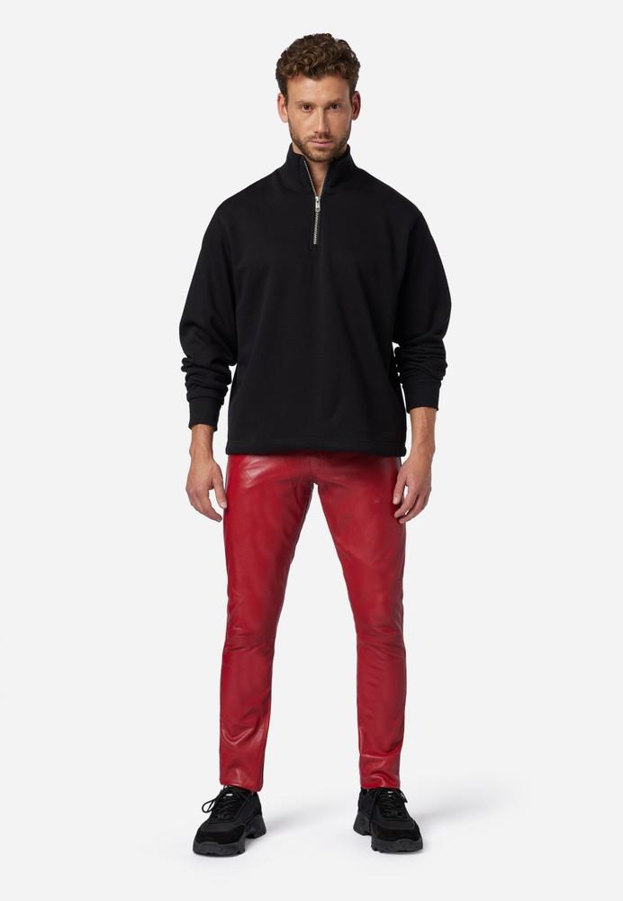 Herren-Lederhose Slim Fit, Rot in 6 Farben, Bild 2