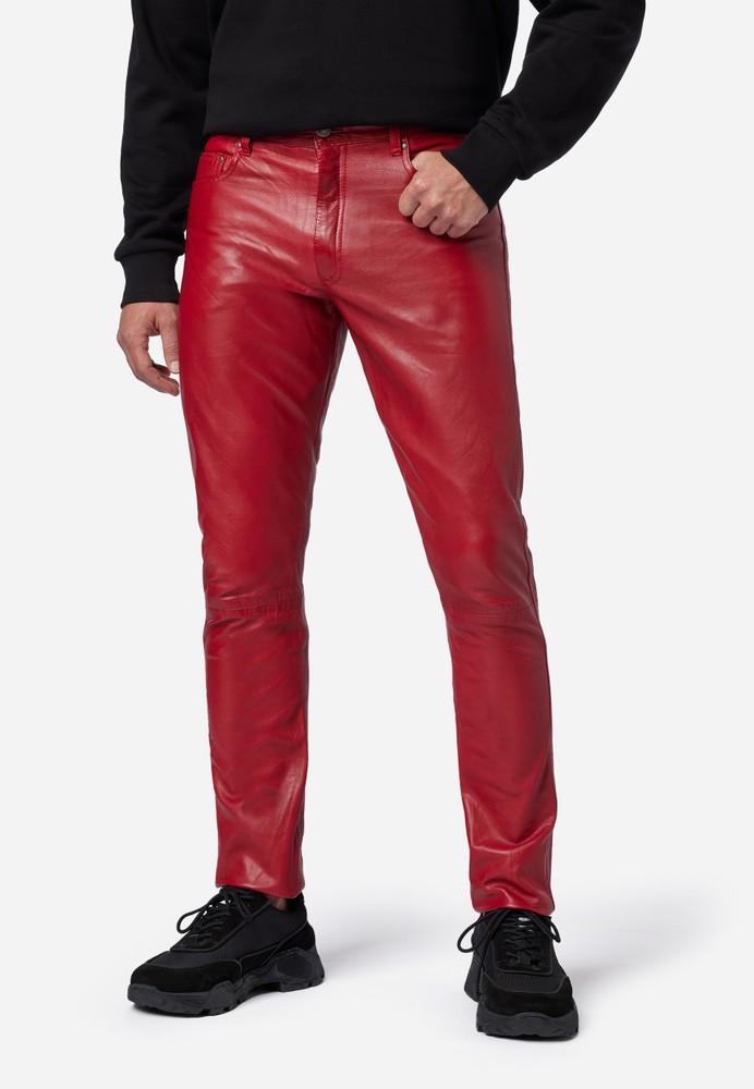 Herren-Lederhose Slim Fit, Rot in 6 Farben, Bild 1
