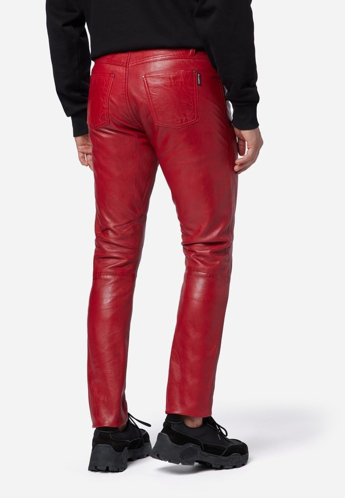 Herren-Lederhose Slim Fit, Rot in 6 Farben, Bild 3