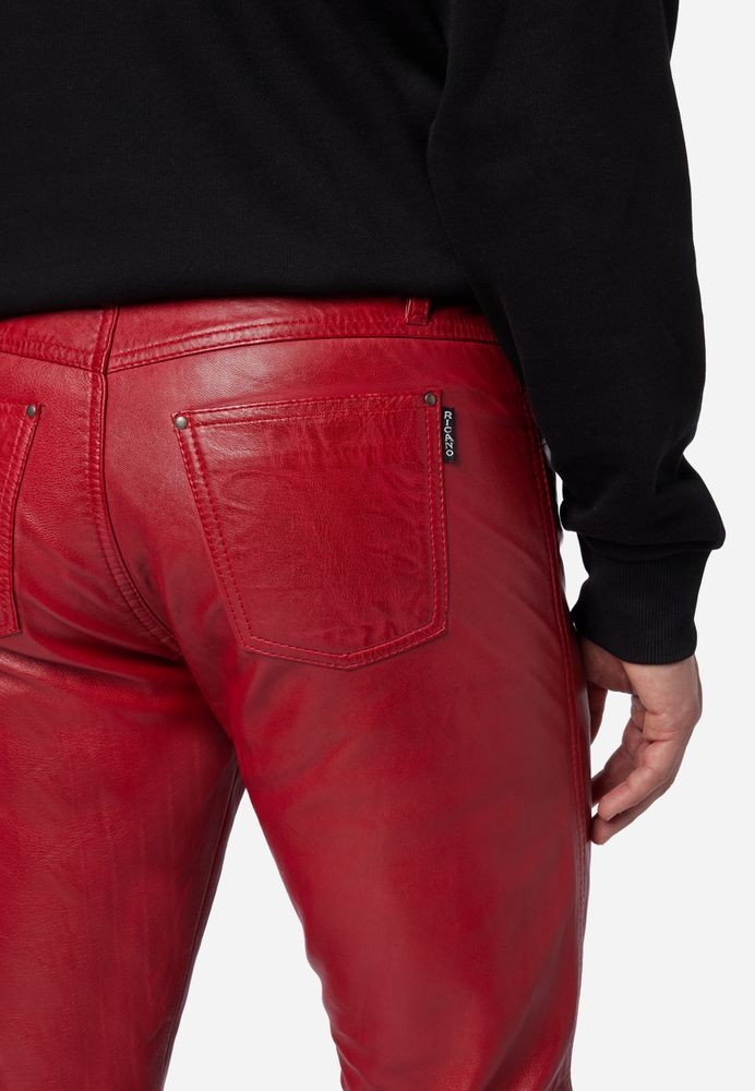 Herren-Lederhose Slim Fit, Rot in 6 Farben, Bild 4