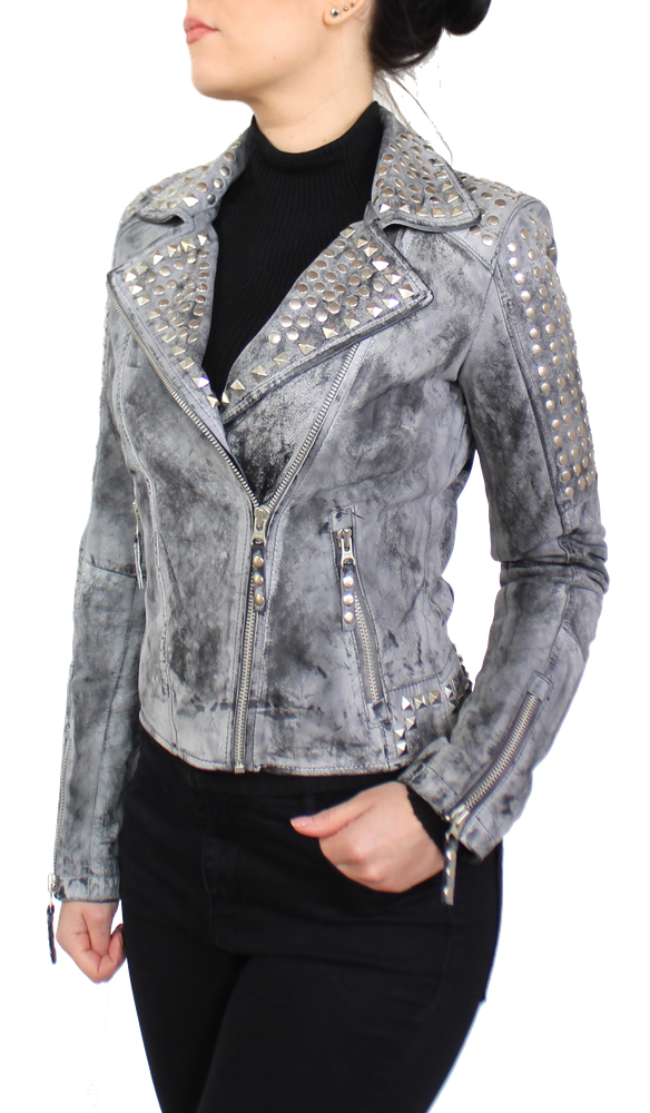 Damen-Lederjacke Studd Jkt, Grau in 2 Farben, Bild 4