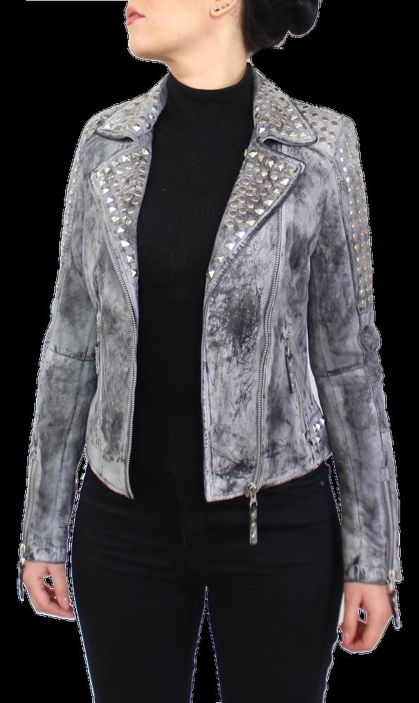 Damen-Lederjacke Studd Jkt, Grau in 2 Farben, Bild 3
