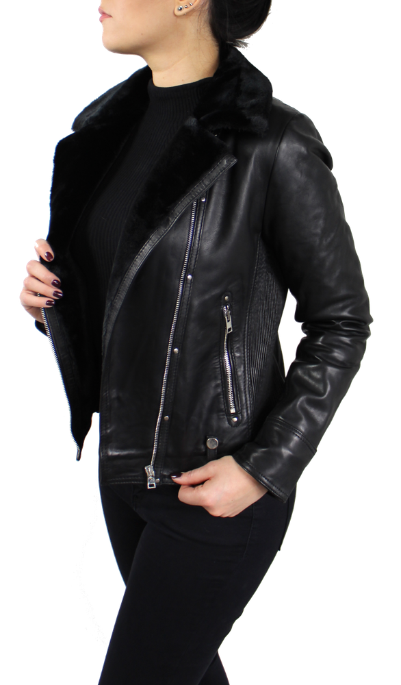 Damen-Lederjacke Y-89110, Schwarz in 2 Farben, Bild 4