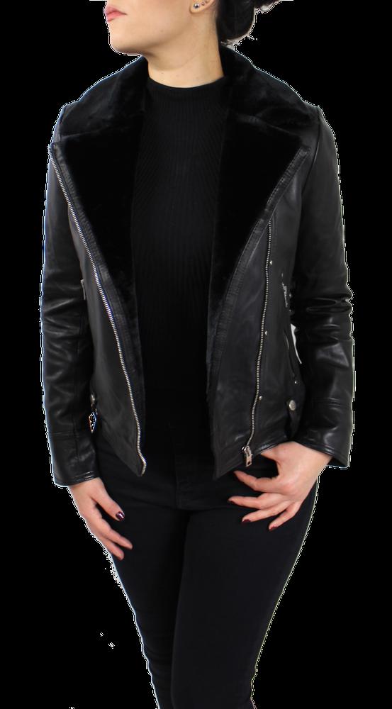 Damen-Lederjacke Y-89110, Schwarz in 2 Farben, Bild 3