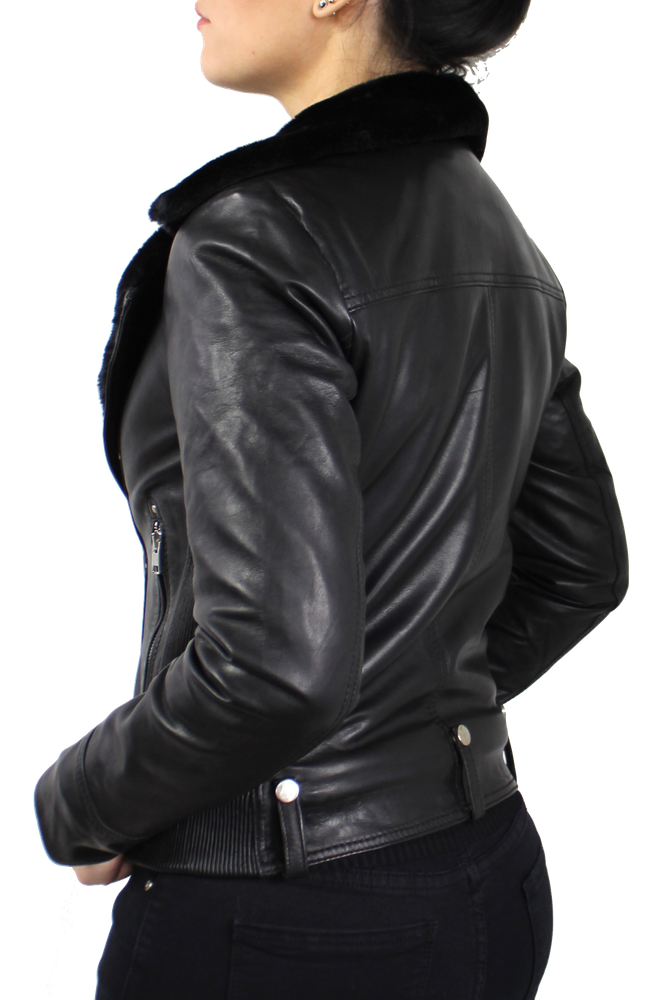 Damen-Lederjacke Y-89110, Schwarz in 2 Farben, Bild 5
